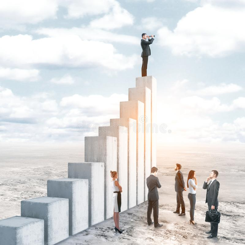 Leadership, research and teamwork concept. Businessman looking into the distance while standing on top of concrete ladder on outdoor background. Leadership royalty free illustration