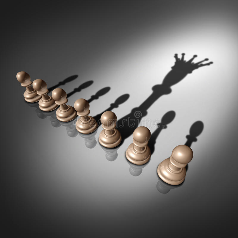 Leadership Search. And business recruitment concept as a group of pawn chess pieces and one individual standing out with a king crown cast shadow as a metaphor