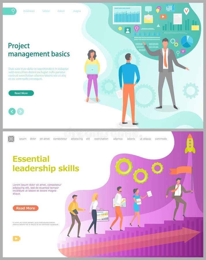 Leadership Skills, Project Management Web Vector stock illustration