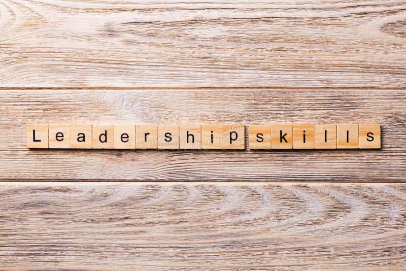 Leadership skills word written on wood block. Leadership skills text on wooden table for your desing, concept royalty free stock photos