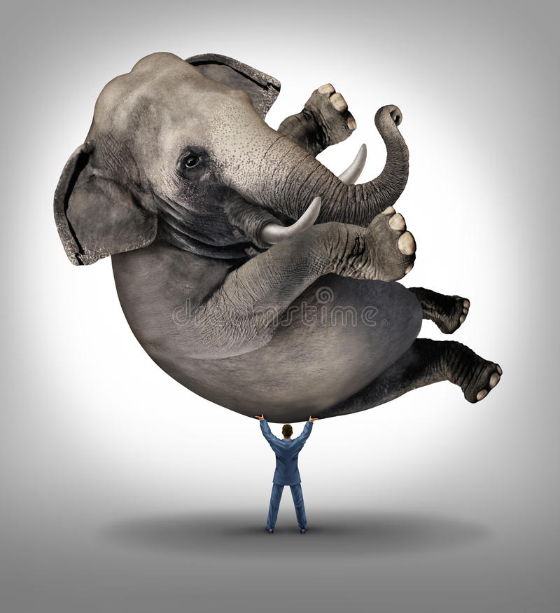 Leadership Solutions. Business concept with a take charge businessman lifting a huge elephant as a symbol of a strong leader with courage and determination to
