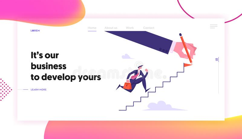 Leadership, Success, Goal Achievement Concept, Website Landing Page, Businessman Character Running Up Stairs. Business Man Aiming to Ladder Top Web Page royalty free illustration
