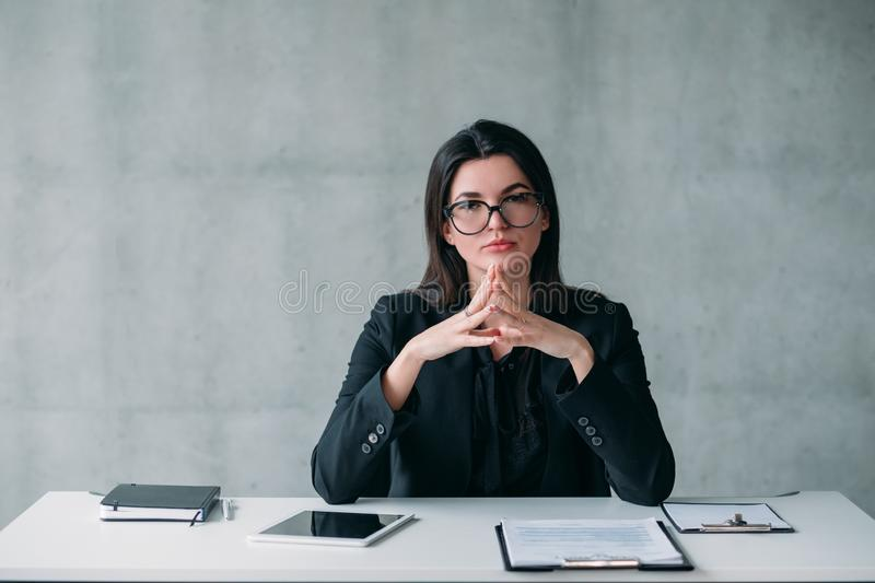 Leadership career powerful business woman. Leadership and successful career. Portrait of powerful business woman in eyeglasses, with confident facial expression stock photo