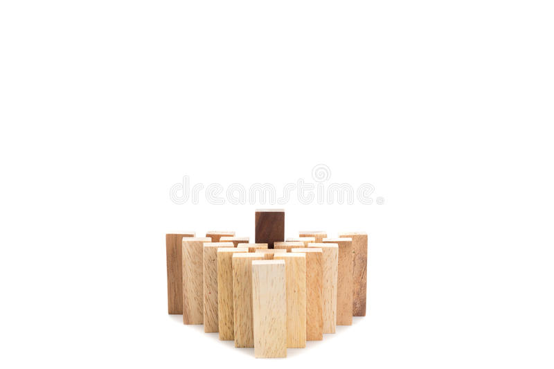Leadership and team abstract business concept, wooden block on w royalty free stock images