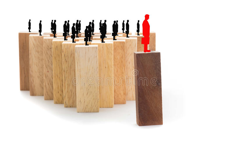 Leadership and team abstract business concept, wooden block on w stock photo