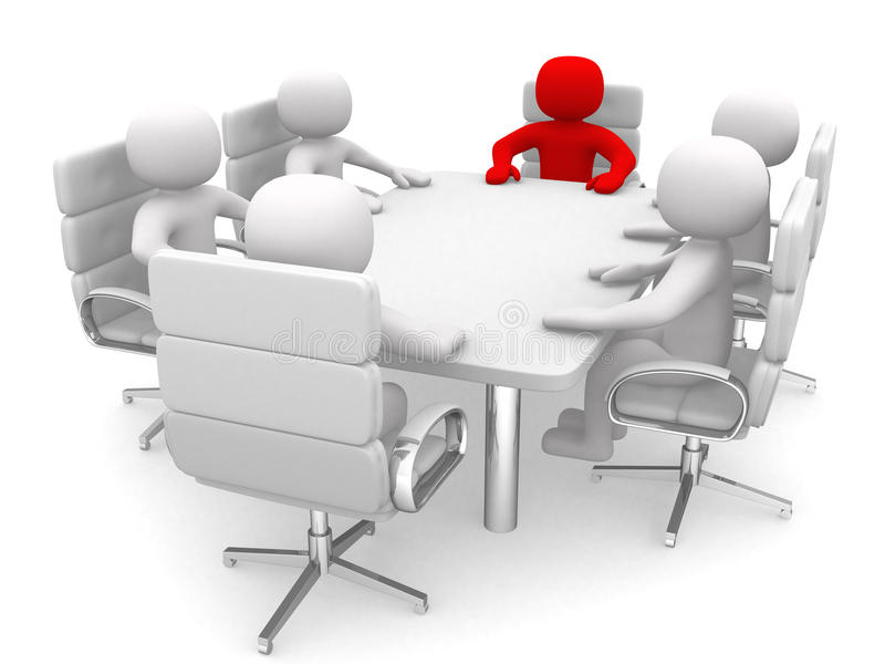 Leadership and team at conference table stock image