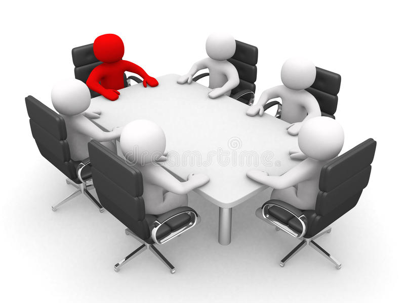 Download Leadership And Team At Conference Table - 3d Render Stock Photo - Image: 24125164