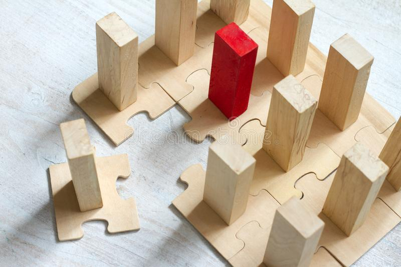 Leadership team and new employee abstract business concept with puzzle and block. On white background stock photo