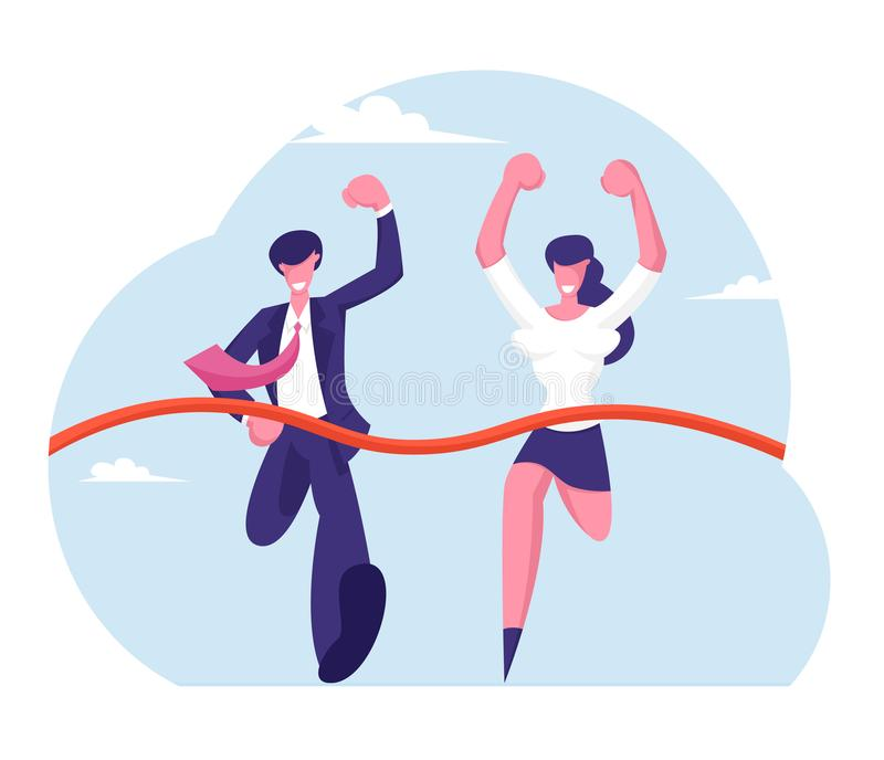 Leadership and Teamwork Concept. Business People Running to Finish. Team Leaders Competition, Businessman vector illustration