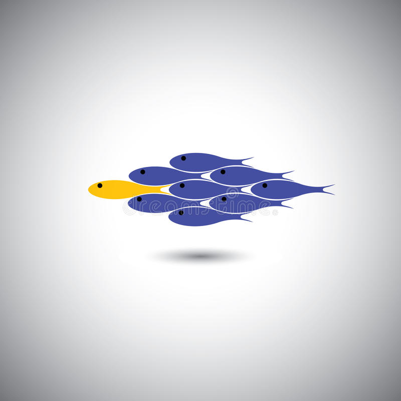 Download Leadership Vector Concept - Leader Fish & Team Stock Vector - Image: 37692789