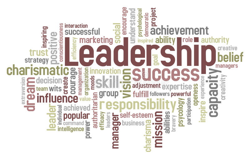 Leadership Word Cloud. Concept illustration, isolated on white background. Eps file available