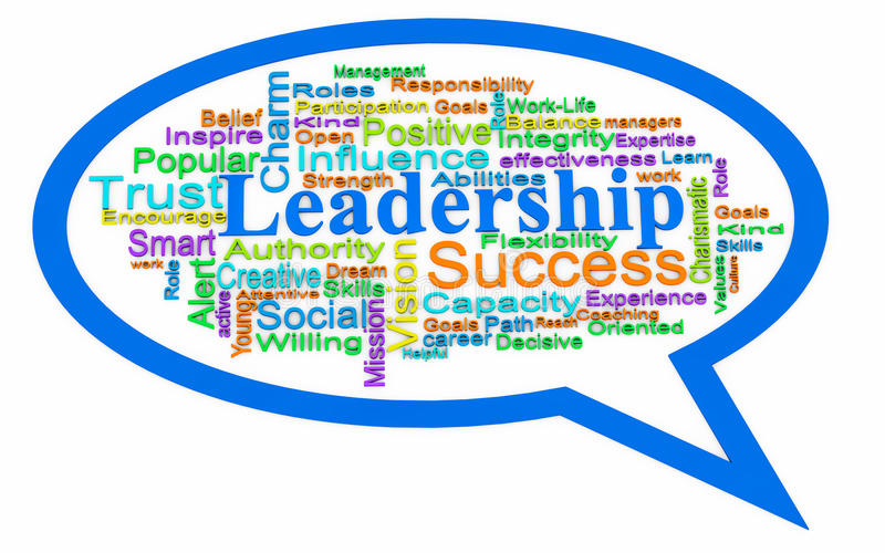 Leadership word cloud. Leadership words in 3d in speech bubble, leadership and management concept royalty free illustration
