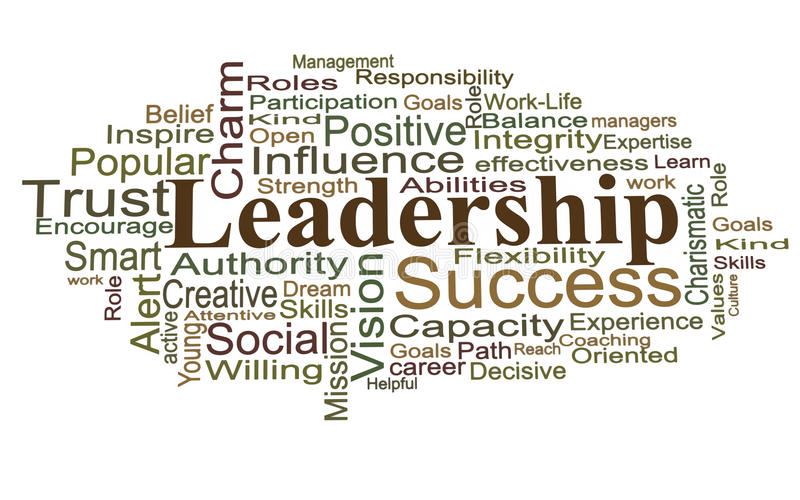 Leadership word cloud. Leadership words on white background, management and leadership form the most important part of the organization vector illustration