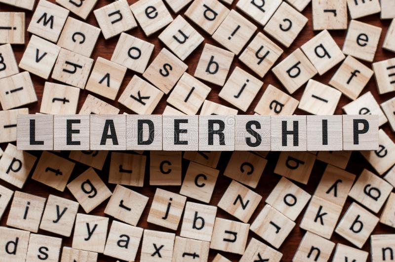 Leadership word concept. On cubes stock photo