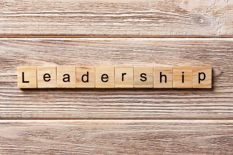 LEADERSHIP word written on wood block. LEADERSHIP text on table, concept royalty free stock images