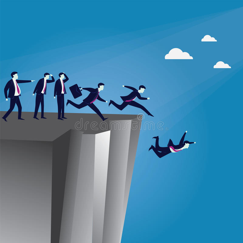 Leadership Wrong Direction Concept. Vector illustration. Bad business Leadership concept. A Leader pointing wrong direction and make his employees running in stock illustration