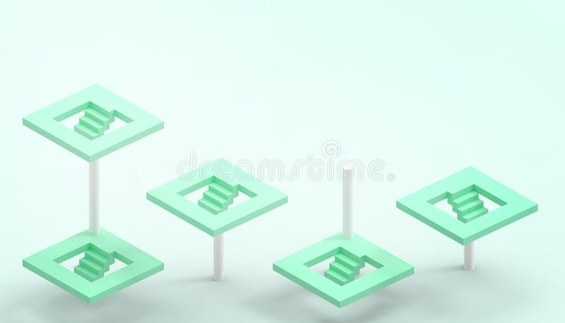 Leading concept and Green stairs and the illusion with business success on Green background royalty free illustration