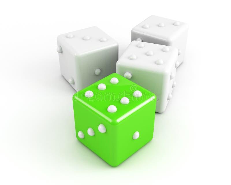 Leading dice. winning concept vector illustration