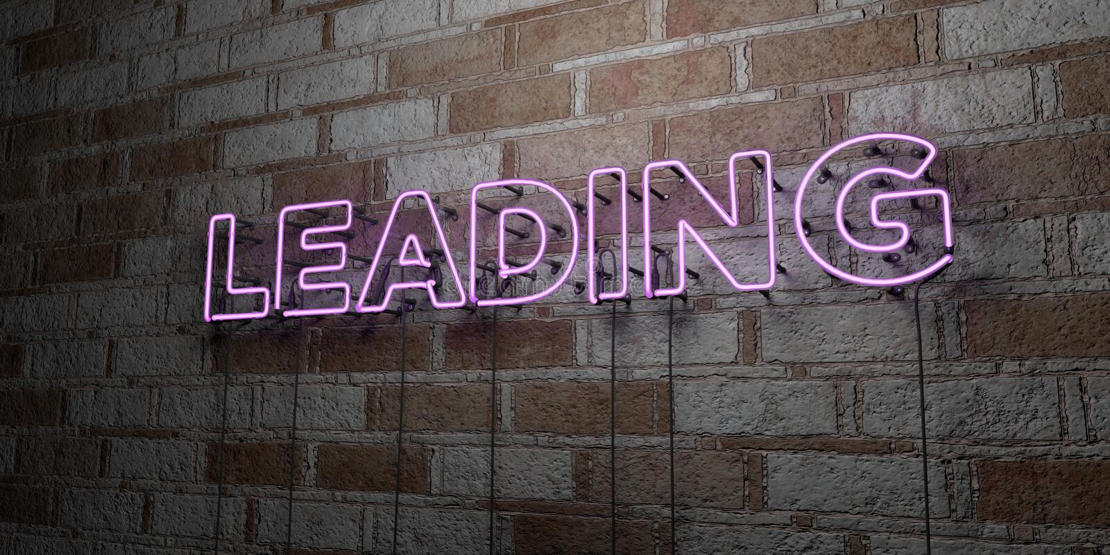 LEADING - Glowing Neon Sign on stonework wall - 3D rendered royalty free stock illustration. Can be used for online banner ads and direct mailers stock illustration