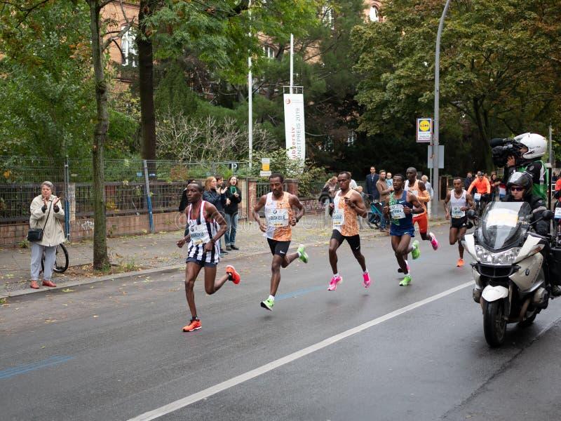 Leading Group At Berlin Marathon 2019 With Winner Kenenisa Bekele. BERLIN, GERMANY - SEPTEMBER 29, 2019: Leading Group At Berlin Marathon 2019 With Winner royalty free stock photos