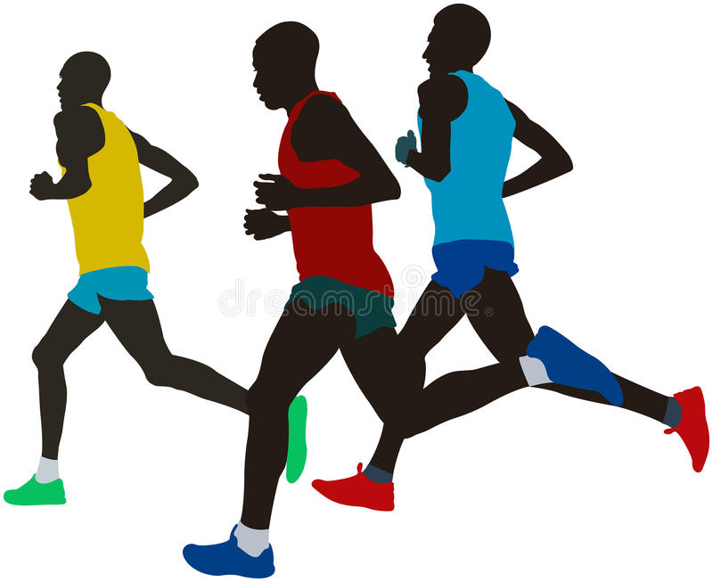 Leading group runners athletes stock illustration