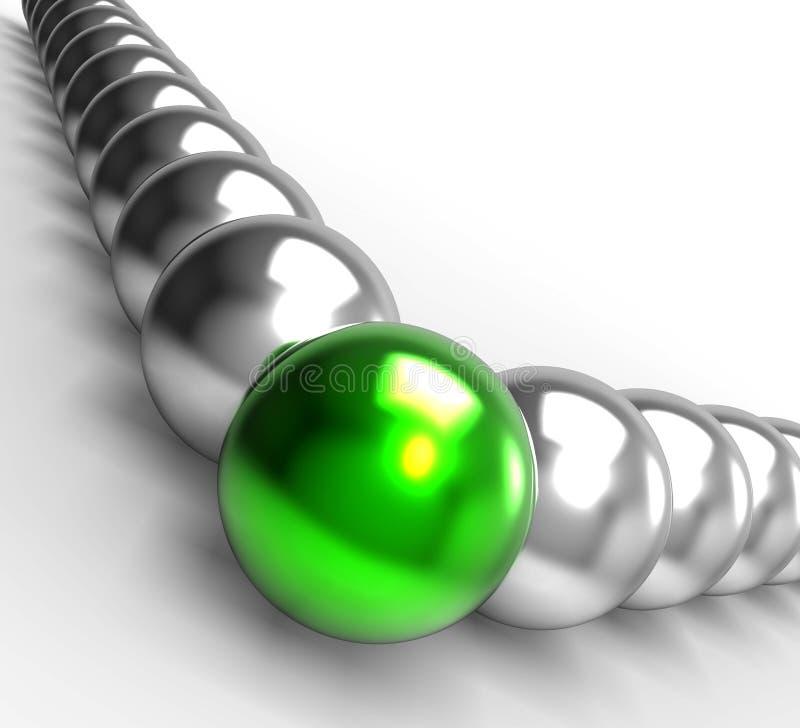 Leading Metallic Balls Showing Leadership. And Vision stock illustration