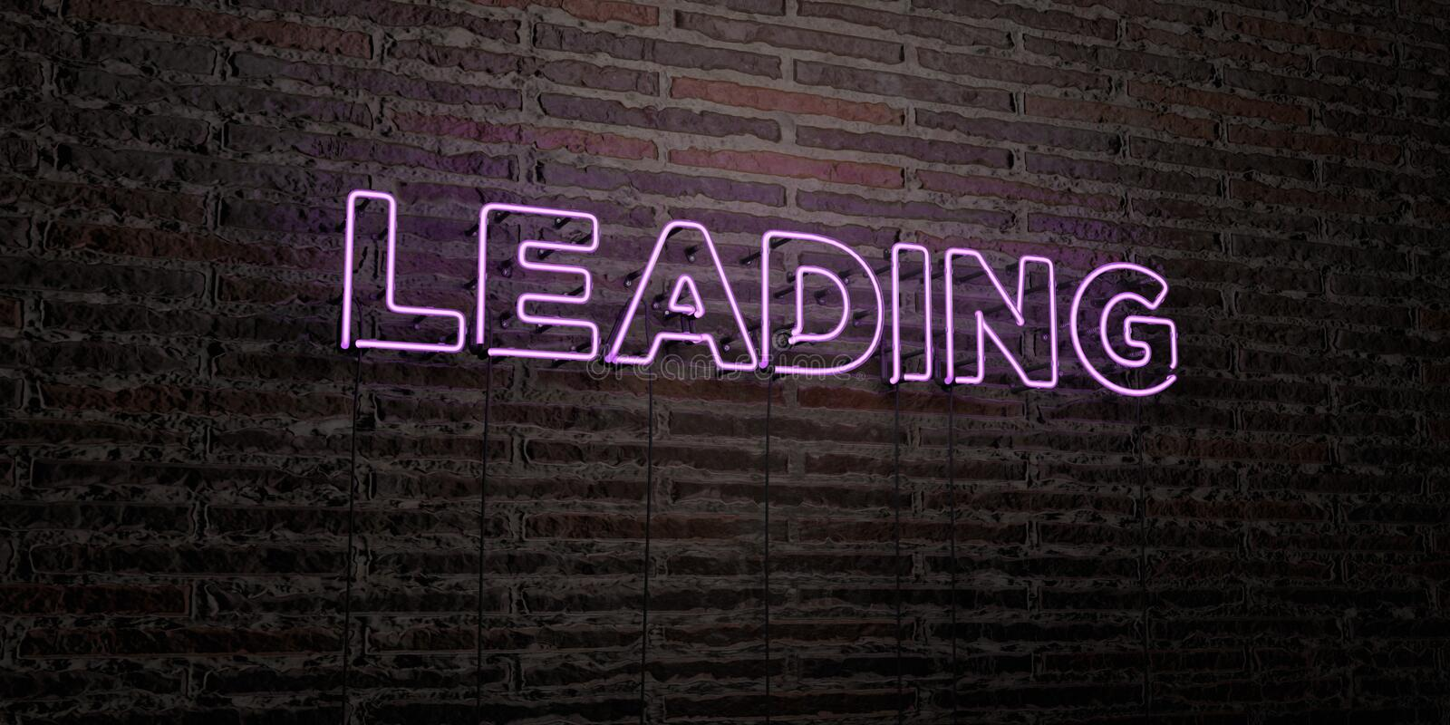 LEADING -Realistic Neon Sign on Brick Wall background - 3D rendered royalty free stock image. Can be used for online banner ads and direct mailers stock illustration