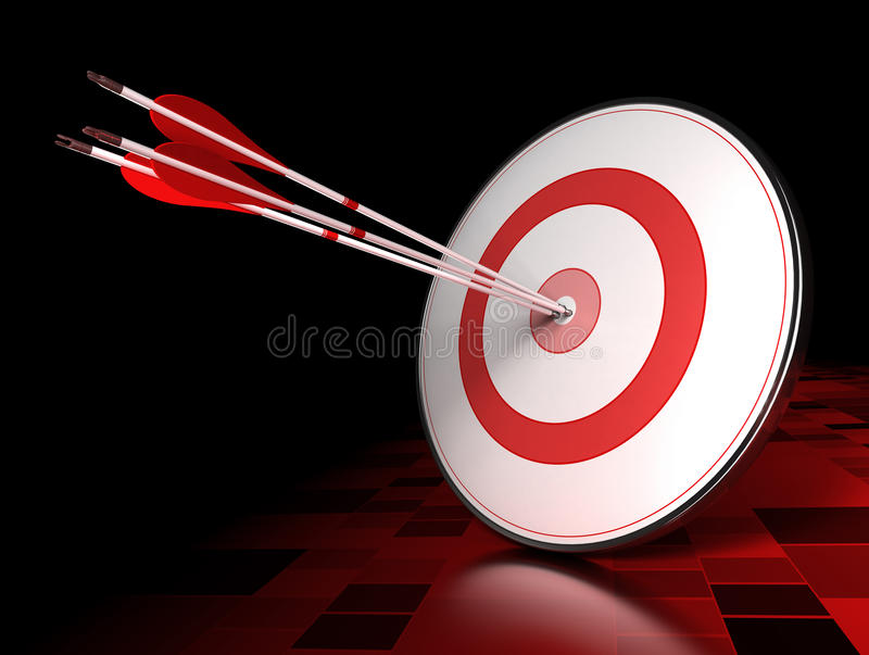 Leading. Three arrows hitting the center of a red target over dark tiled background. Illustration of leading concept or success royalty free illustration