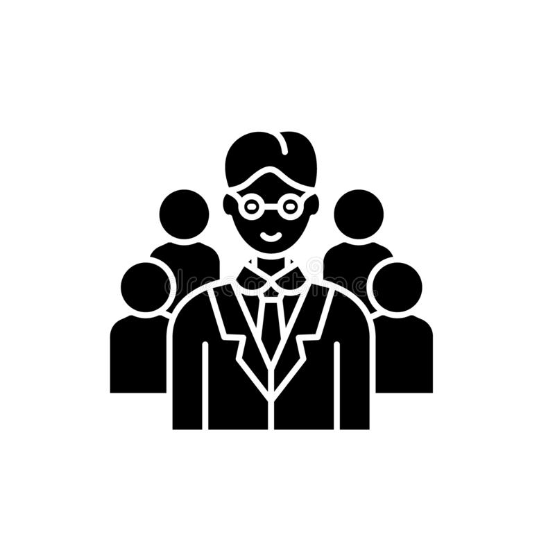 Leading top manager black icon, vector sign on isolated background. Leading top manager concept symbol, illustration. Leading top manager black icon, concept stock illustration