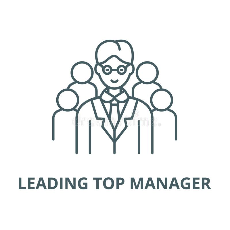 Leading top manager vector line icon, linear concept, outline sign, symbol. Leading top manager vector line icon, outline concept, linear sign royalty free illustration