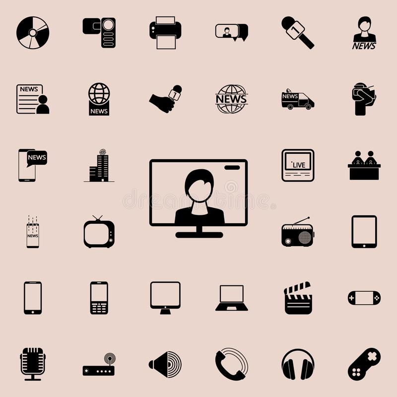Leading on the TV screen icon. Detailed set of minimalistic icons. Premium graphic design. One of the collection icons for website. S, web design, mobile app on vector illustration
