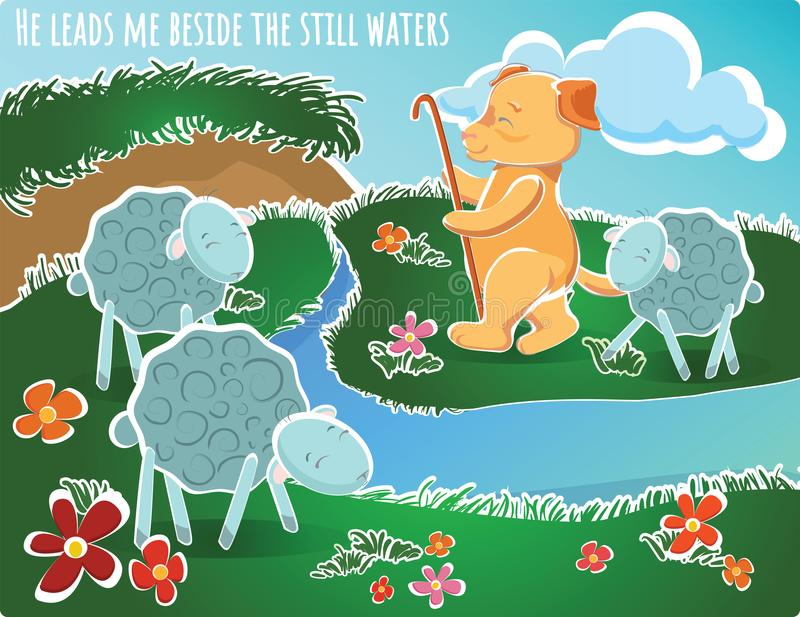 He leads me beside the still waters illustration sheeps d. He leads me beside the still waters Vector illustration sheeps drink water vector illustration