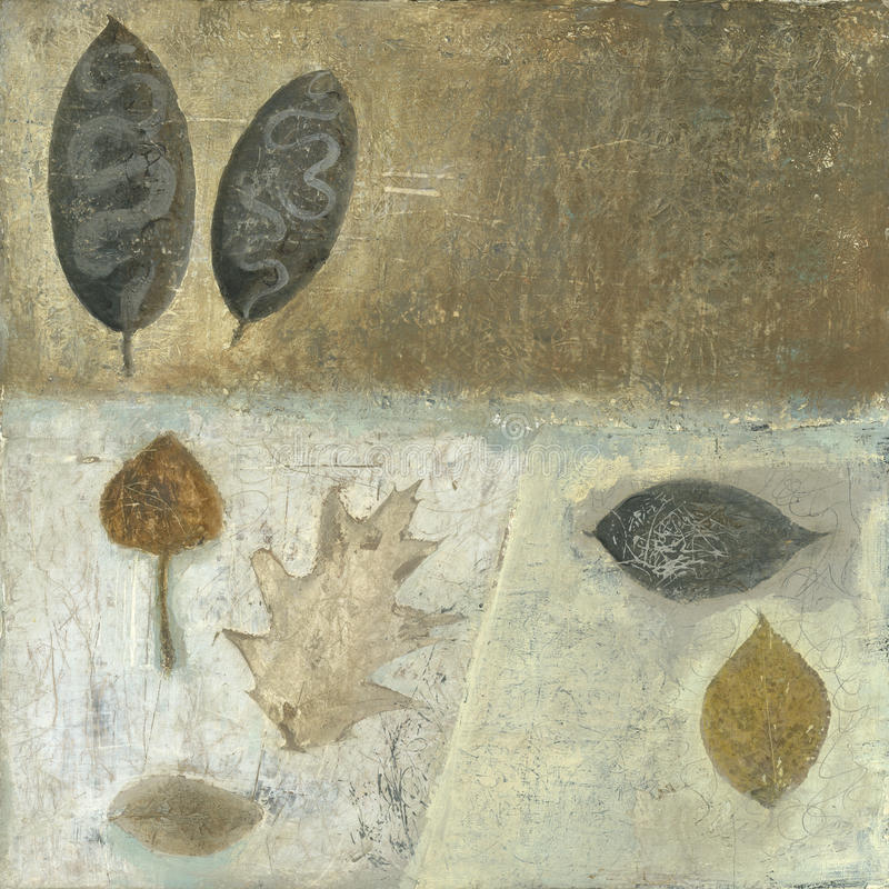 Leaf Art. Textural leaf painting with neutral tone colors