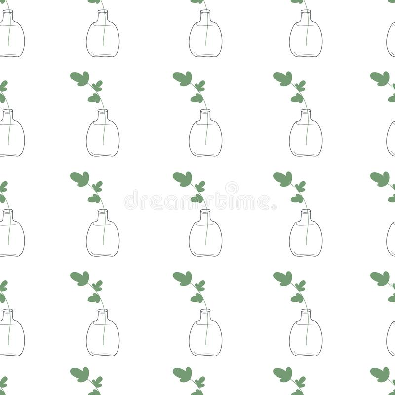 Leaf in a bottle seamles pattern in black and white. Coloring paper, page, book. Leaf in a bottle seamles pattern in black and white. Vector illustration royalty free illustration