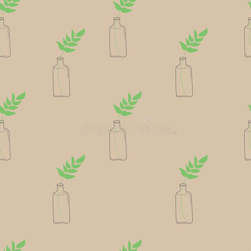 Leaf in a bottle seamles pattern on pastel peach background. Vector illustration stock illustration