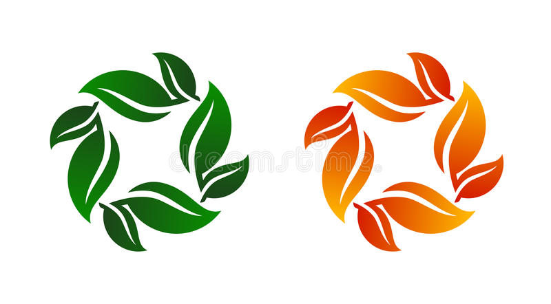 Leaf Bunch Icon Vector Illustration on Both Spring royalty free stock images