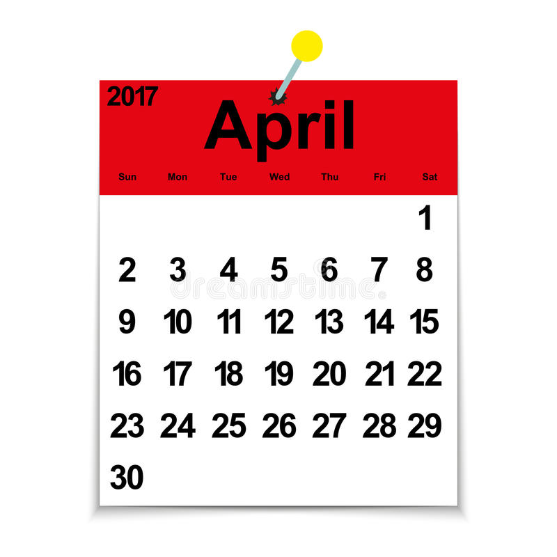 Xs Calendar April : Leaf calendar with the month of april stock vector