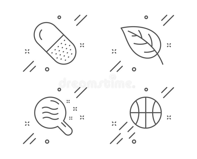 Leaf, Capsule pill and Skin condition icons set. Basketball sign. Vector vector illustration