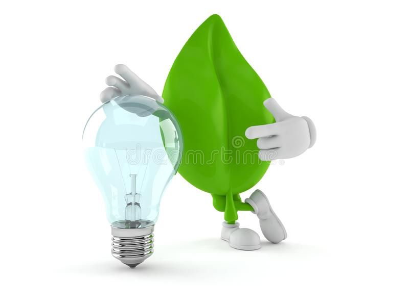 Leaf character with light bulb royalty free illustration