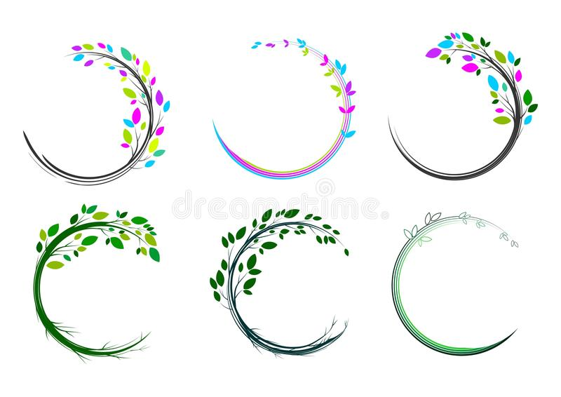 Leaf circle logo,spa,massage,grass,icon,plant,education,yoga,health, and nature concept design royalty free illustration