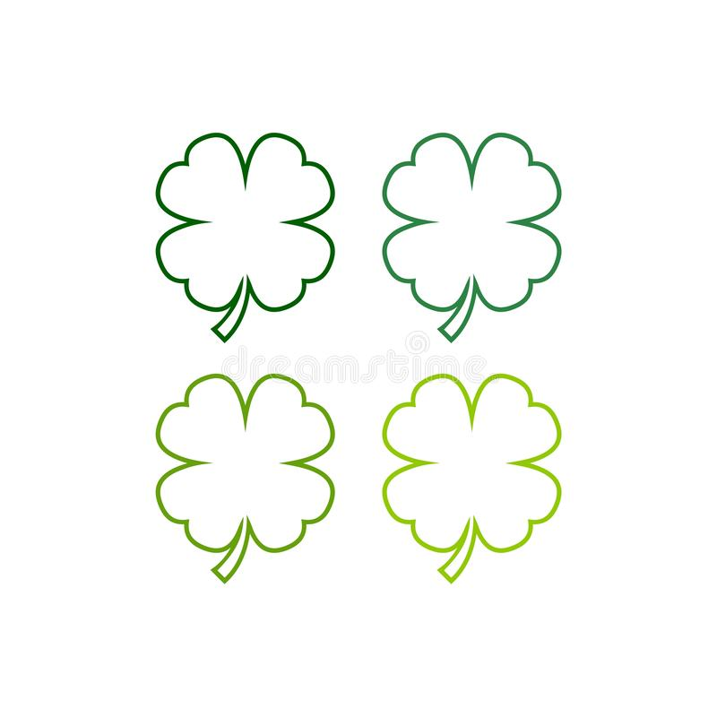 Leaf clover isolated on white background, four shades of green royalty free illustration