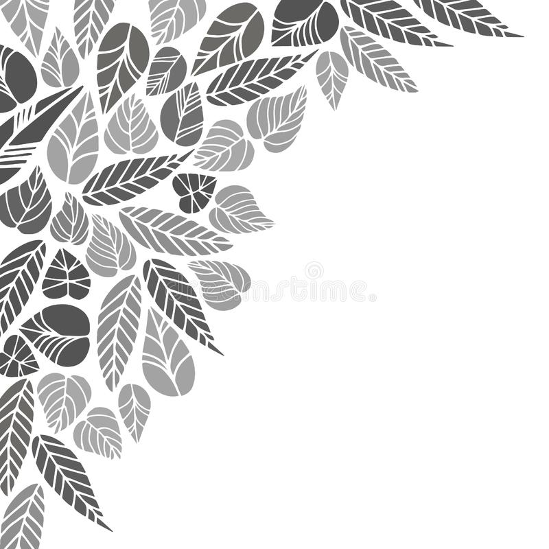 Leaf collection - vector. leaves gray silhouettes. different shapes royalty free illustration