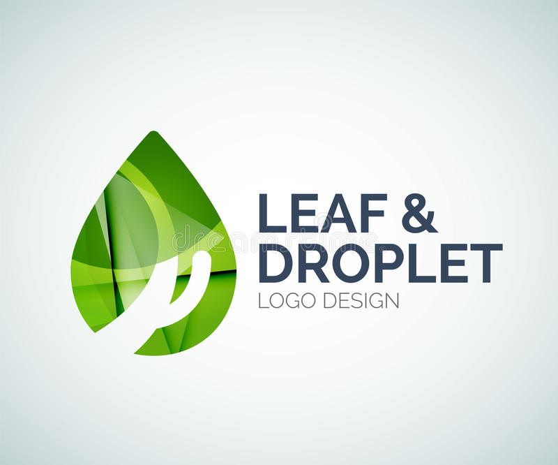 Leaf and droplet logo made of color pieces royalty free illustration