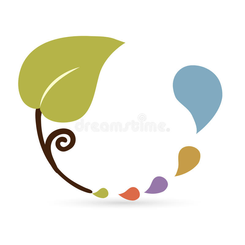 Leaf and drops icon stock illustration