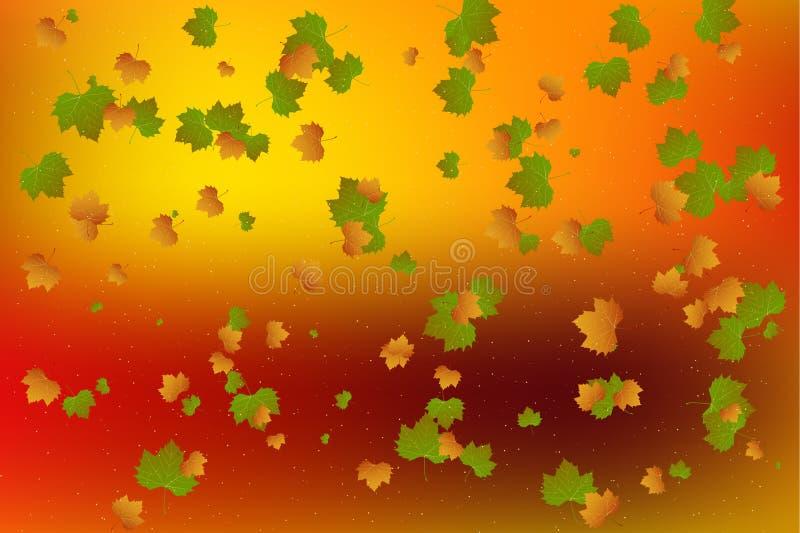 leaf för fall för konsthöstbakgrund digital vektor vektor illustrationer
