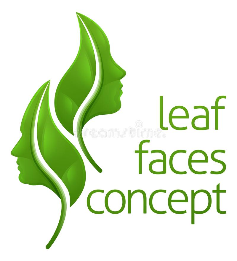 Leaf Faces Concept. Leaf face concept of leaves forming a man and a womans faces in profile vector illustration