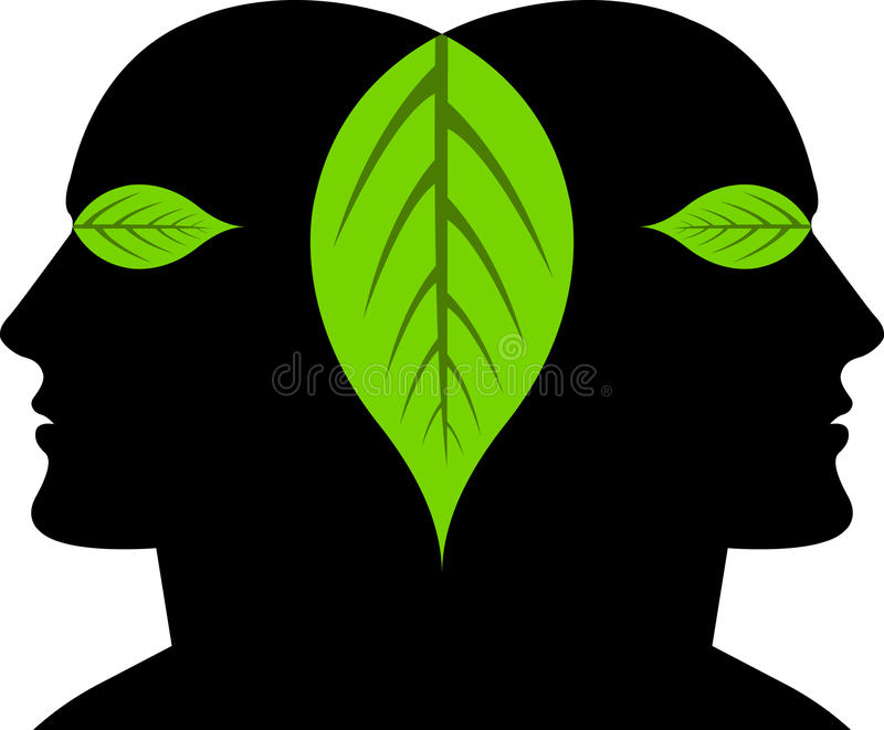 Leaf faces. Illustration art of a leaf faces with isolated background stock illustration