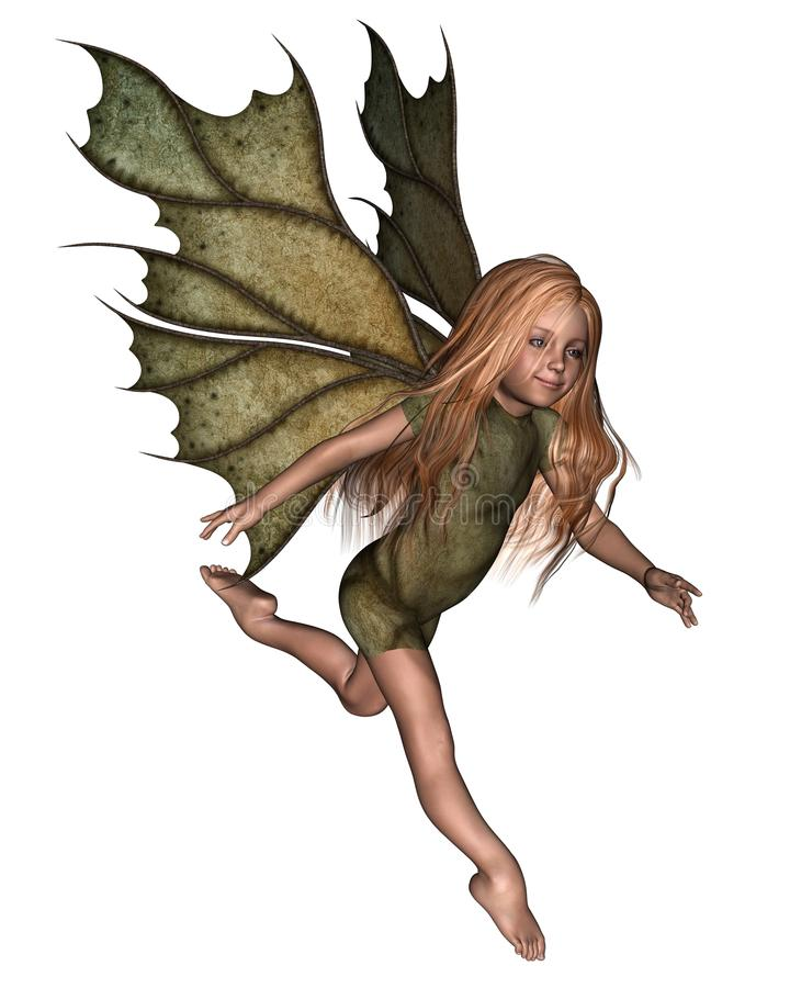 Leaf Fairy Child. 3d Digitally rendered illustration of a young fairy girl child with green leafy wings and costume vector illustration