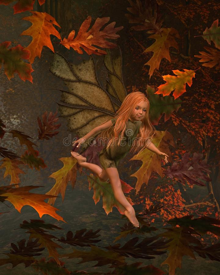 Leaf Fairy Child with Autumn (fall) background vector illustration