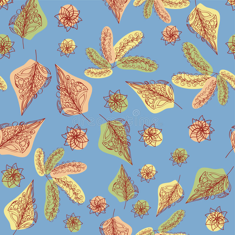The leaf fall. Lace leaves. Composition on a blue background. Seamless pattern stock illustration